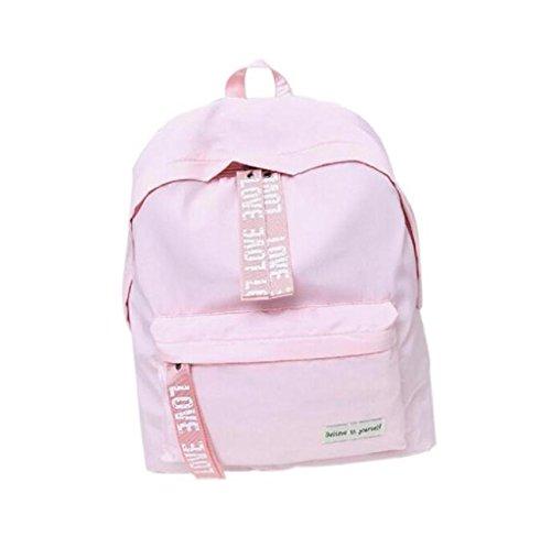 Rcool Mädchenschule jungen Brief Tasche Travel Rucksack Ranzen Frauen Schulter Rucksack (Rosa)