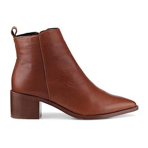 Cox Damen Klassik-Stiefelette aus Leder, Trend-Boots in Braun mit praktischem Reißverschluss Braun Glattleder 40