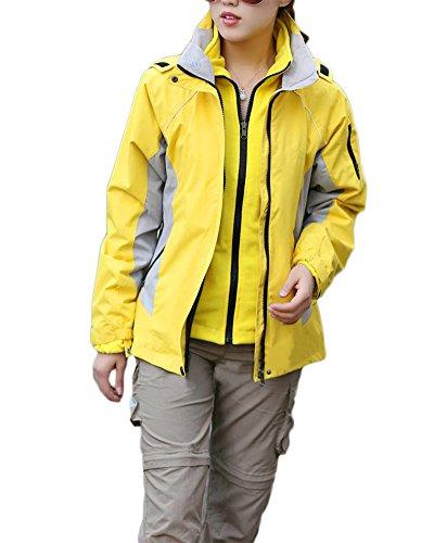 Qitun Damen 3 in 1 Outdoor Jacken Skifahren Bergsteigen warm Winddichte Bekleidung atmungsaktive Klettern Kleidung Gelb M