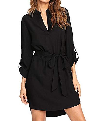 kenoce Sommerkleid Damen Knielang Kleid Baumwolle Damen V-Ausschnitt Strand Freizeitkleid Hemd Kleid Schwarz M=EU 38-40