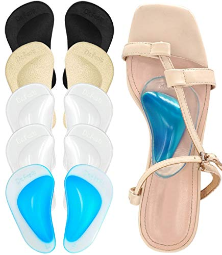 Dr. Foot Plantar Fasciitis Arch Support Shoe Insoles 5 Pairs  Thicken Gel Arch Pads for Flat Feet - Self-Adhesive Arch Cushions Inserts for Men and Women (Clear*2+Black+Beige+Blue)