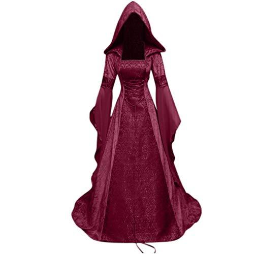 Maxi Kleider TWIFER Damen Gothic Steampunk Langarm Mittelalter Kleid Mit Kapuze Kleid Flare-Ärmel Abendkleider Cosplay Kostüm (b-Weinrot, 4XL)