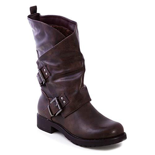 Toocool - Stivali Donna Bassi Biker Boots Motociclista Stivaletti Fibbie Anfibi SA9907 [37,Marrone]
