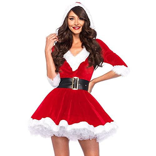 ADLOASHLOU Costume da Babbo Natale per Donna, Costume da Babbo Natale per Cosplay, Costume da Babbo Natale per Donna, Vestito con Cappuccio e Cintura Red-X-Large