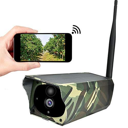 Waterdichte bewakingscamera op zonne-energie, 1080p IP-camera buitenshuis met 10 m nachtzicht, bewegingsdetectie voor binnen en buiten, iOS/Android, camouflage 16GTFcard 1080p.
