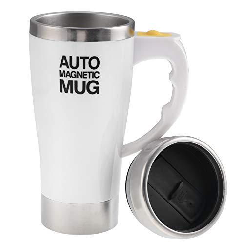 Elektrischer selbstrührender Kaffeebecher, Edelstahl, automatisch, magnetisch, selbstmischend, für Kaffee, Tee, Kakao, Milch, 450 ml (weiß)