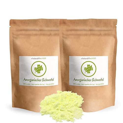 Anorganischer Schwefel (sulfur) - 1 kg (2 x 500 g) - BESTSELLER - 99,9% pharmazeutisch rein (Ph. Eur.) - fein gemahlen - Schwefelpulver - aus Naturrohstoff - säurearm - in geprüfter Qualität