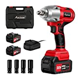 AVID POWER 20V MAX Cordless Impact Wrench with 1/2' Chuck, Brushless Motor, Max Torque 406 ft-lbs (550N.m), 2Pcs 4.0A Li-ion Batteries, 4Pcs Driver Impact Sockets, 2 Hour Fast Charger and Tool Box