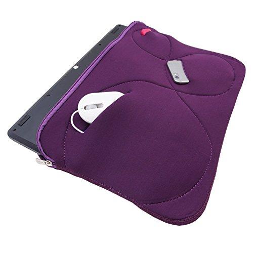 Notebook Tasche Mappe Hulle Neopren fur MacBook Laptop bis 173 Schutztasche Cover 3 Zubehorfacher Violett