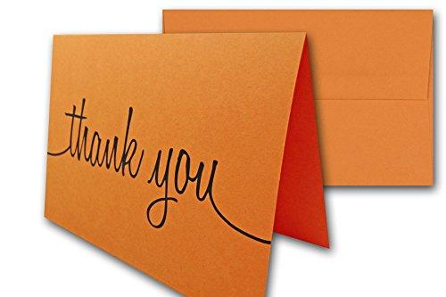 Thank You Note Cards & Envelopes - 25 cards and envelopes (Orange Fizz (Orange))
