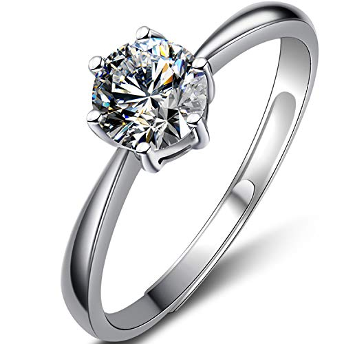 S925 sterling silver rings for women,Classic one-carat six-claw diamond...