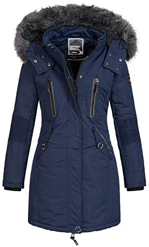 Geographical Norway Damen Jacke Winterparka Coracle/Coraly XL-Fellkapuze Navy L