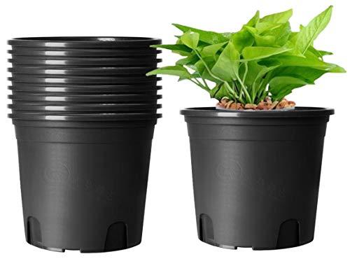KAHEIGN 10Pcs Plastic Flower Pots, 19.5cm Thicken Plant Pots Plant Container Indoor Gardening Pot (Black)