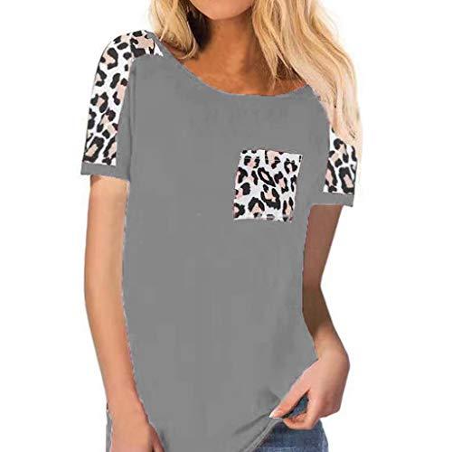 BOLANQ Vêtements Damen Sommer Mode Rundhals Leopard Patchwork Kurzarm Taschentuch