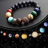 Hete-supply Bracciale Planet System Solare, Braccialetti con ciondoli con Perle di Pietra da Donna Otto Pianeti Nove Pianeti Bracciale con Stella Custode del Sistema Solare