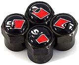 WYBF Valvola della Gomma dell'automobile STEM Cappelli Aria, for SLINE Logo Emblem Auto Cappucci valvole di polveri Hanno Copertura Decorativo Modellazione Accessori Auto 4 Pezzi Dust cap 927