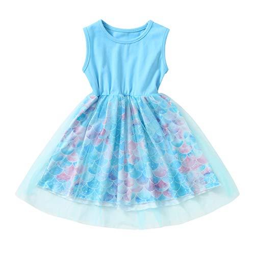 Kobay Mädchen Sommer interessant Muster Kleinkind Kinder Baby Mädchen Ärmelloses Patchwork Meerjungfrau Tüll Kleid Party Prinzessin