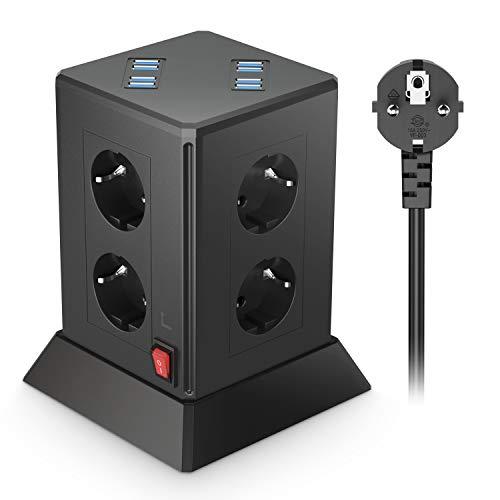 Regleta de 8 enchufes con USB, enchufe múltiple con 8 puertos USB, 8 enchufes y 2 interruptores, regleta con protección contra sobrecarga, torre para el hogar y la oficina, color negro, cable de 2 m