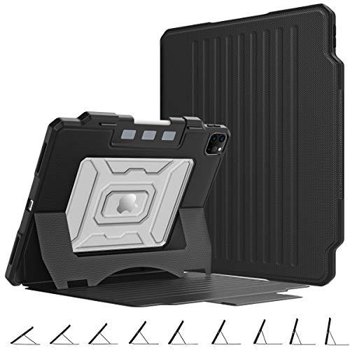 MoKo Schutzhülle Kompatibel mit iPad Pro 12.9 4. Generation 2020/2018, Stoßfest Hülle Tablet Hülle Mehrwinkel Magnetisch Ständer Stifthalter Auto Schlaf/Aufwach für iPad Pro 12.9 2020/2018 - Schwarz