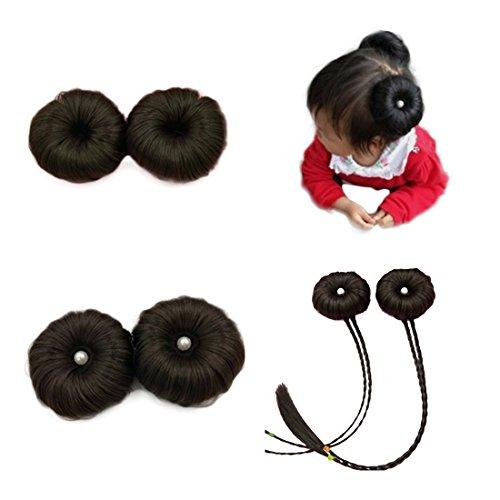 Yairyangtze - Juego de 2 pinzas de pelo sintéticas para niñas pequeñas (negro)