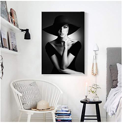 yhyxll Schwarz Weiß druckt Frau mit Hut Porträt Leinwand Malerei Wandkunst Bilder für Wohnzimmer Galerie Home Decor -50x70cm No Frame