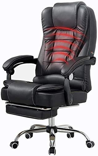 Sessel GSN Stuhl Recline PU-Leder-Polsterung Bürostuhl mit hohen Rückenlehne Großen Sitz und Kippfunktion Taillen-Massage mit 150kg Erweiterte Beinstütze und Lehnstuhl Tragender (Color : Black)