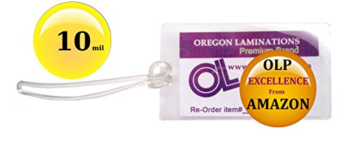 Qty 100 of Each, 10 Mil Luggage Tag Laminating Pouches & 6-inch Loops, 2-1/2 x 4-1/4 pre-Slotted