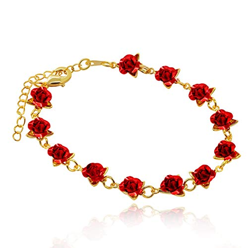 Uloveido Cute Red Rose Flower Charm Bracelet for Women Girls 18K Gold Plated Nature Jewelry, Wedding Party Bridesmaid Gift (Yellow Gold Color) Y452