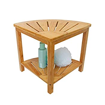 Zhuoyue Corner Shower Bench & Shower Stool with Storage Shelf Corner Seat for Shower Use as Small Corner Table