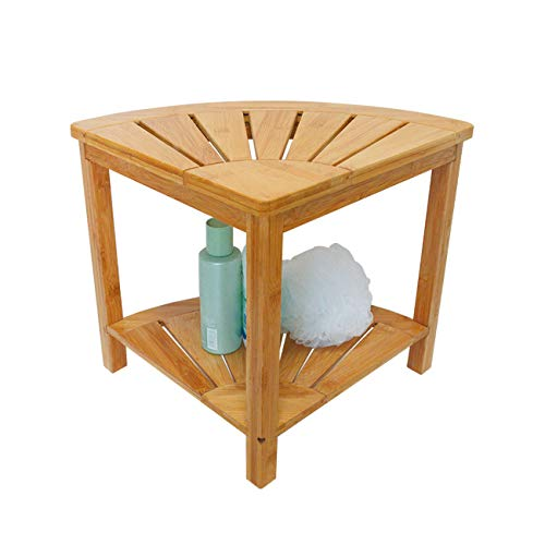 Zhuoyue Corner Shower Bench & Shower Stool with Storage Shelf, Corner Seat for Shower, Use as Small Corner Table