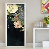 Mural de Pegatinas de Puerta, extraíble Impermeable Autoadhesivo 3D Etiqueta de la Puerta Mural de Pared Flor Floral Pintura al óleo Sala de Estar Dormitorio Puerta Etiqueta de Papel Tapiz