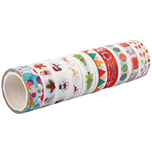 EXCEART 10 Rollos de Navidad Tema Washi Tape Papel Artesanías Cinta Suministros para Fiesta DIY Scrapbooking Diario Regalos Envoltura Artesanía Proyecto