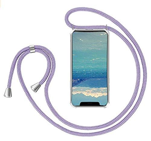 Compatible con Funda con Cuerda Samsung Galaxy S21 Ultra Carcasa Samsung Galaxy S21 Ultra Fundas Ajustable Cordon Transparente Collar Correa de Cuello Silicona Rosa Bumper Tapa (S21 Ultra, púrpura)