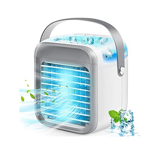 Ventilatori portatili umidificanti, 2 in 1, raffreddatore USB per acqua ghiacciata, condizionatore d'aria per casa, camera da letto, ufficio, tavolo da tavolo per ristorante all'aperto (bianco)