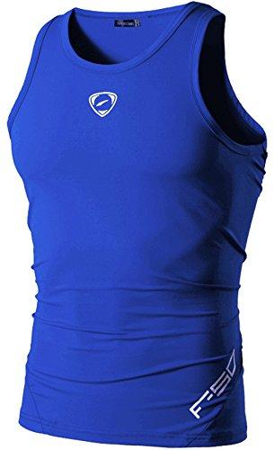 jeansian 男性用 ファッショ メンズ Tシャツ タンクトップ 袖なし 速乾性 LSL3306 OceanBlue XL