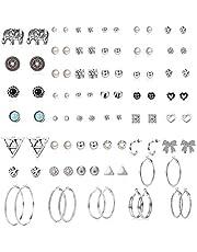 YADOCA 45 par blandade örhängen set för kvinnor flickor enkel ring örhänge falsk pärla rund boll CZ örhängen set flicksmycken