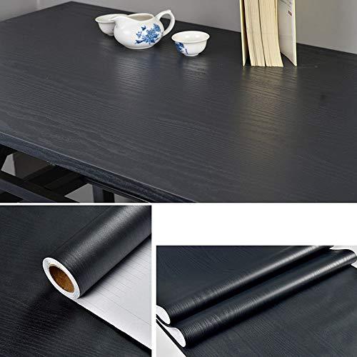 Fantasnight Papel Adhesivo para Muebles Pegatina Madera Negra 40X300cm Impermeable Vinilo Decorativo Adecuado para la Renovación de Muebles