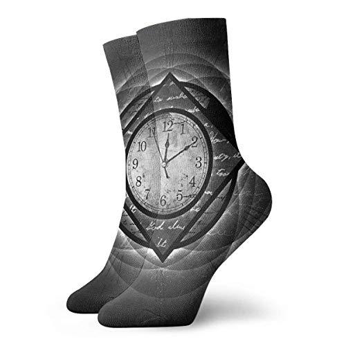 FETEAM Calcetines altos con amortiguación en el tobillo Calcetines deportivos casuales con reloj abstracto