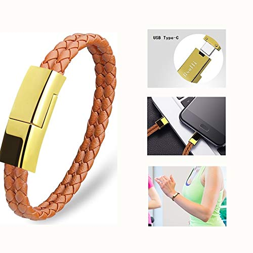 Leather Braided USB Type C Cable Bracelet