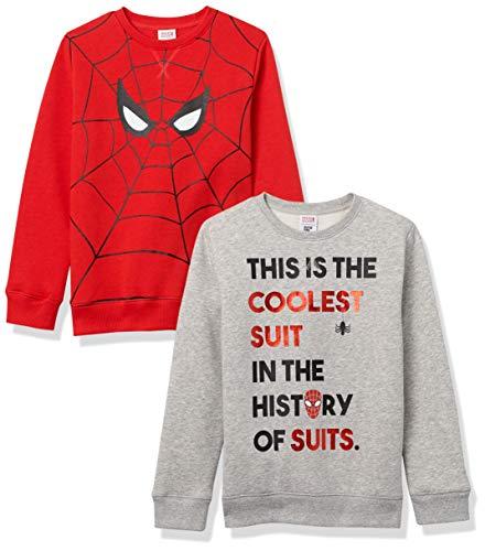 Spotted Zebra Disney Star Wars Fleece Crew Sweatshirts Fashion, Paquete de 2 Ojos Marvel Spider-Man, 6-7 años