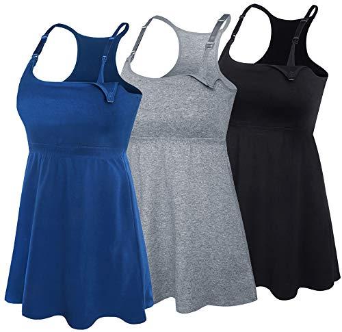 SUIEK 3PACK Racerback Nursing Tops Tank Cami Maternity Bra Breastfeeding Sleep Shirt (Medium, Black+Charcoal+Atrovirens 3Pack)