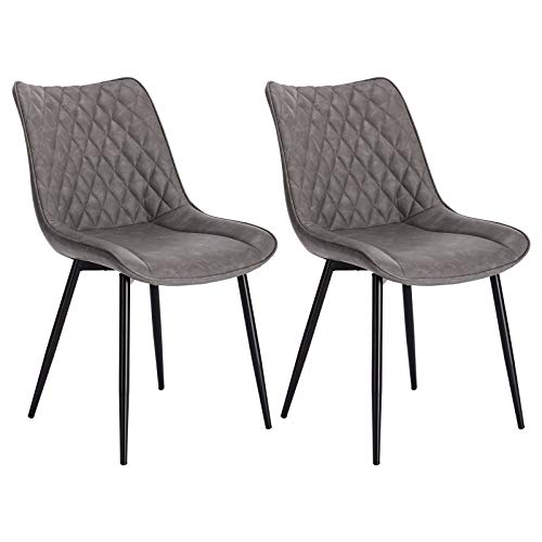 WOLTU® Esszimmerstühle BH210dgr-2 2er Set Küchenstuhl Polsterstuhl Wohnzimmerstuhl Sessel mit Rückenlehne, Sitzfläche aus Kunstleder, Metallbeine, Antiklederoptik, Dunkelgrau