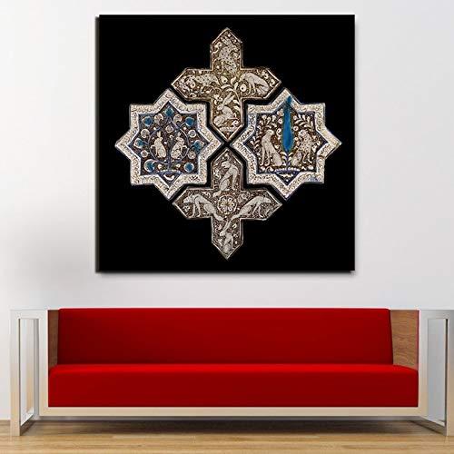 DIY Pintar por números Cuadro de arte moderno de pintura de azulejos dorados de Salomón islámico pintar por numeros caballos Adecuado para la decoración de la sala de estar pa50x50cm(Sin marco)