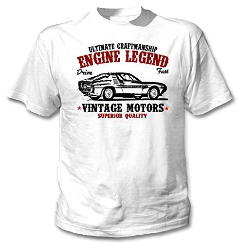 TEESANDENGINES Herren T-Shirt Alfa Romeo Montreal 1971, Weiß Gr. L, weiß