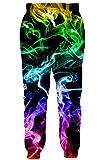 RAISEVERN Unisex Sweatpants 3D Digital Printed Active Colorful Smoke Pattern Gym Sports Jogger Pants Yellow Black