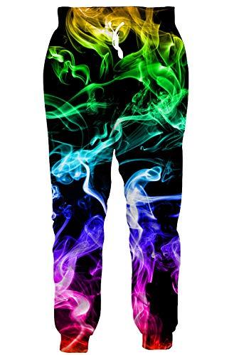 RAISEVERN Unisex Sweatpants 3D Digital Printed Active Colorful Smoke Pattern Gym Sports Jogger Pants...