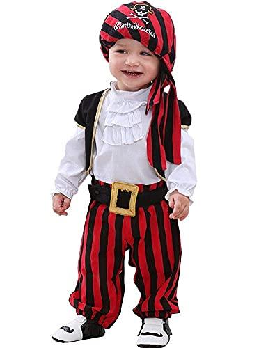 FANCYINN Baby Pirate Costume for Halloween Captain Stinker Infant Party Carnival Mardi Gras Costume 4pcs Set 90 24-30Months