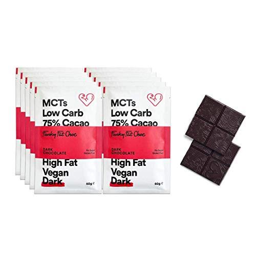Chocolate negro sin azúcar con 75% de cacao, chocolate vegano sin gluten bajo en carbohidratos, chocolate negro orgánico, barras de 10x50g