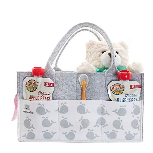 Designer Baby Diaper Caddy Organizer - Portable Diaper Bag Organizer   Nursery Bag for Changing Table   Car Organizer (Happy Whale)