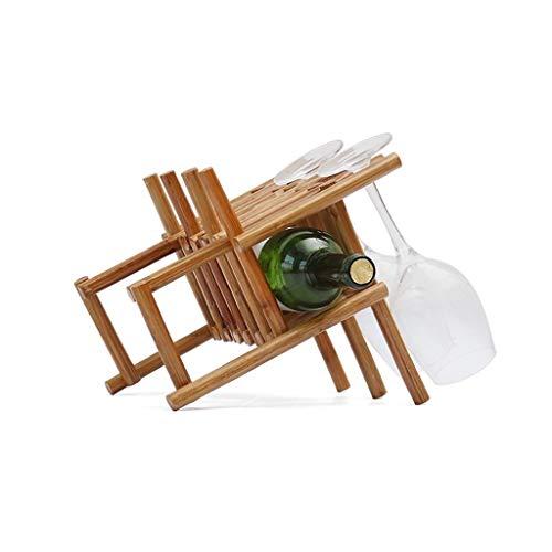 Juegos de accesorios de baño Copa de vino revés estante del vino del cubilete estante de madera sólida del sostenedor del vino simple 1 y 3 botellas Vasos Inicio decoración de la cocina Juegos de acce